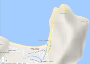 Mapa da trilha até a base do setor de escaldas Agulhinha do Rapa